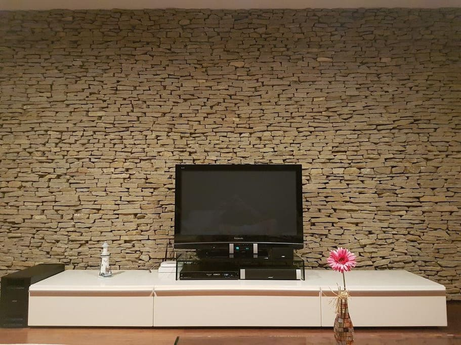 Living room with real stone wall