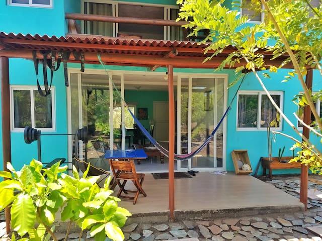 50 meters from beach 2 bedroom AC home.
