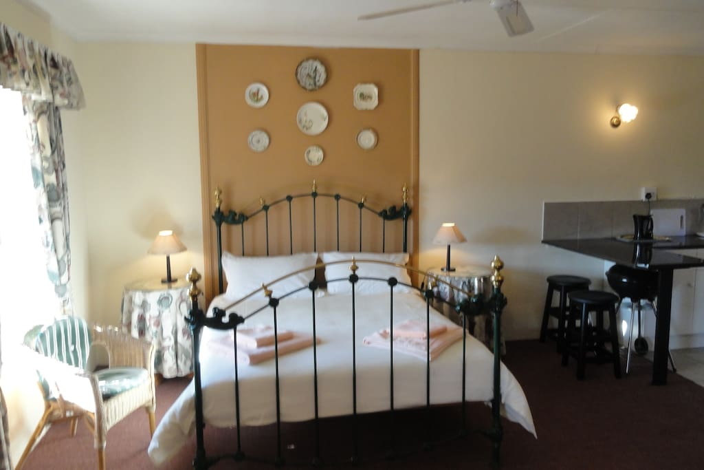 Cottage No 4 Has a fully equipped kitchenette with Fridge, Stove, Microwave or both -Fireplace in Lounge area