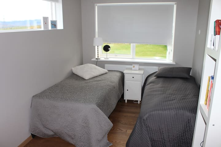 One of the bedrooms on the lower floor.