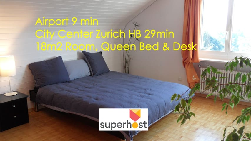 Airport 9' City Center 29' Queen Bed & Desk, 18m2 - Kloten - Bed & Breakfast