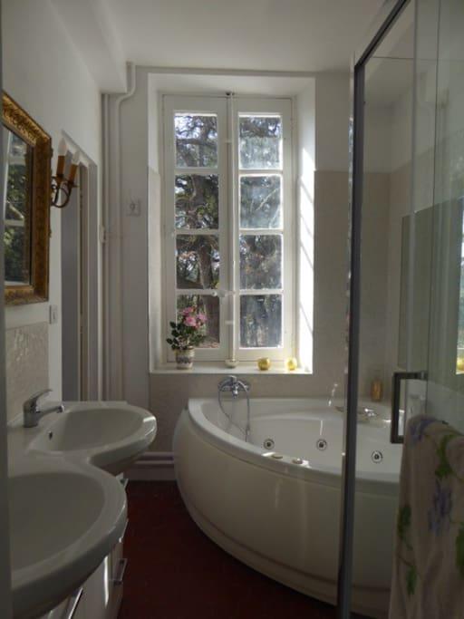 Salle de bain privative de la chambre Colombe avec baignoire à bulles
