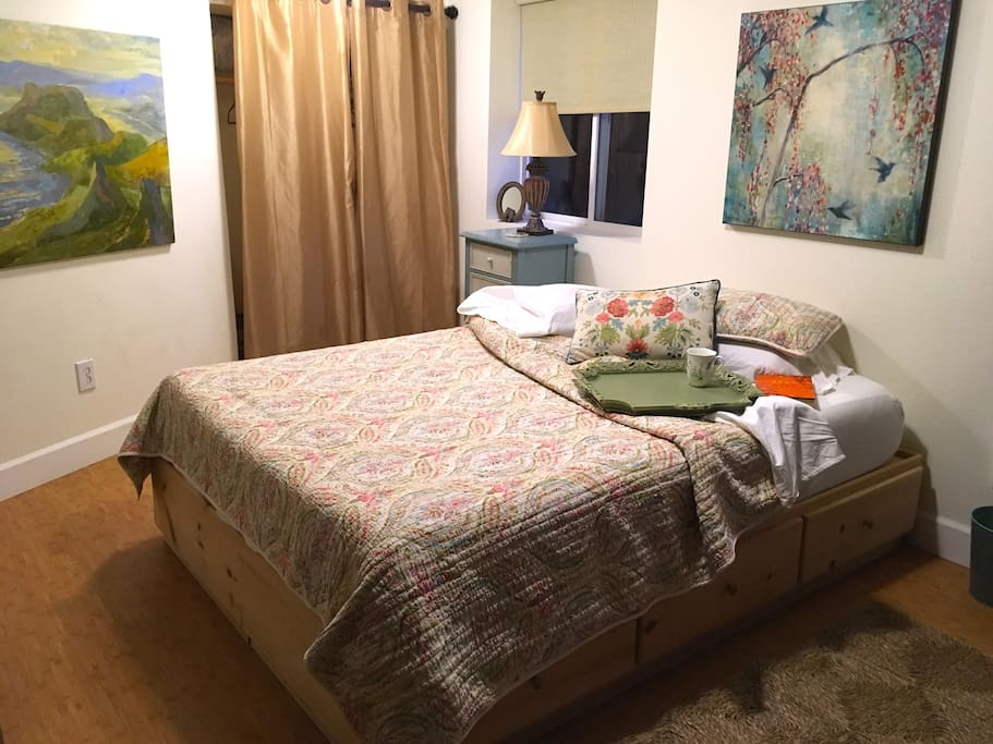 This super comfy memory foam bed is surrounded by beautiful, original art created by Portland artists.