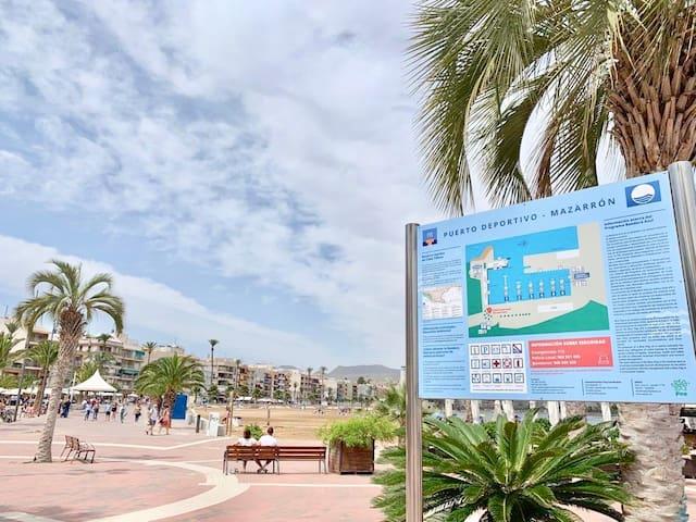 Apartamento a pie de playa y puerto de Mazarron.