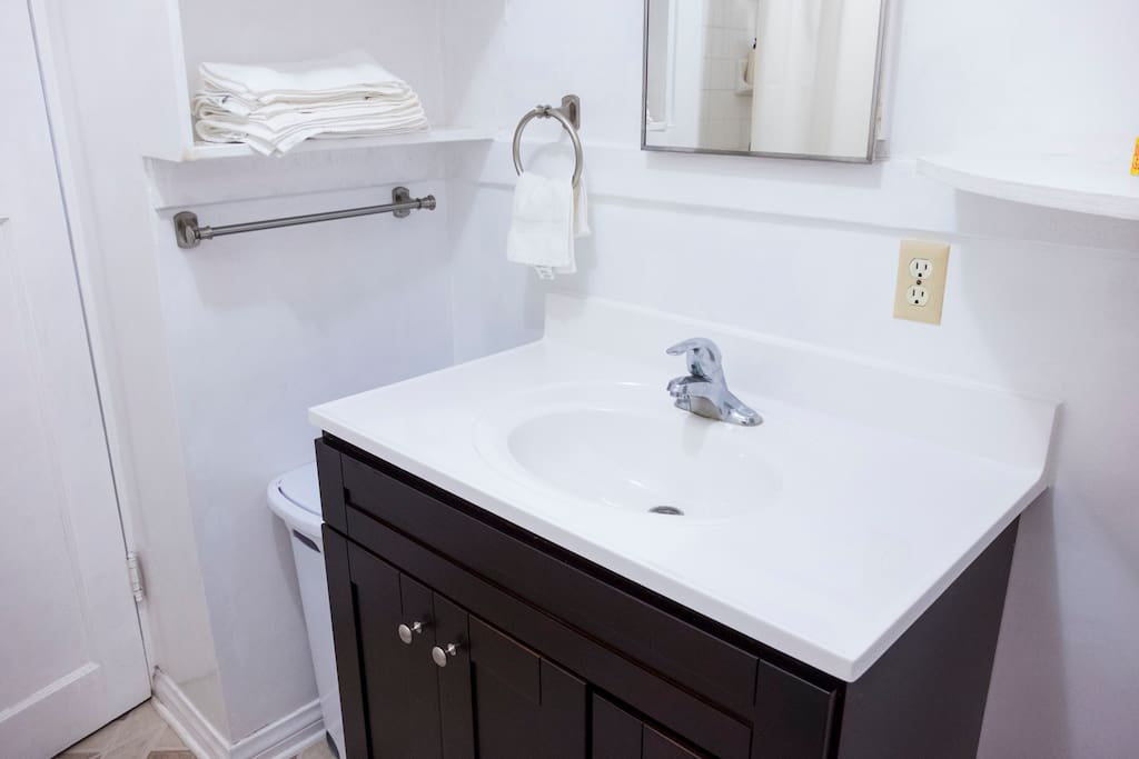 We wanted to provide more sink space for our guests so converted it from a standalone to a cabinet.