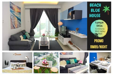 BEACH BLUE House - 5 mins to Mid Valley Mega Mall