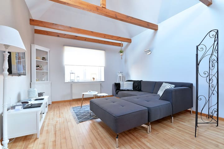 Salon avec un canapé permettant 2 couchages supplémentaires (soit 6 couchages au total)