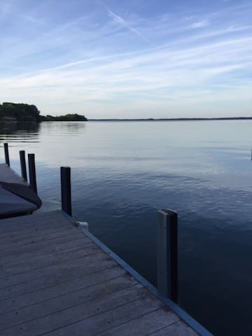 Open water view of Lake Hartwell from the dock.  That's South Carolina in the distance.