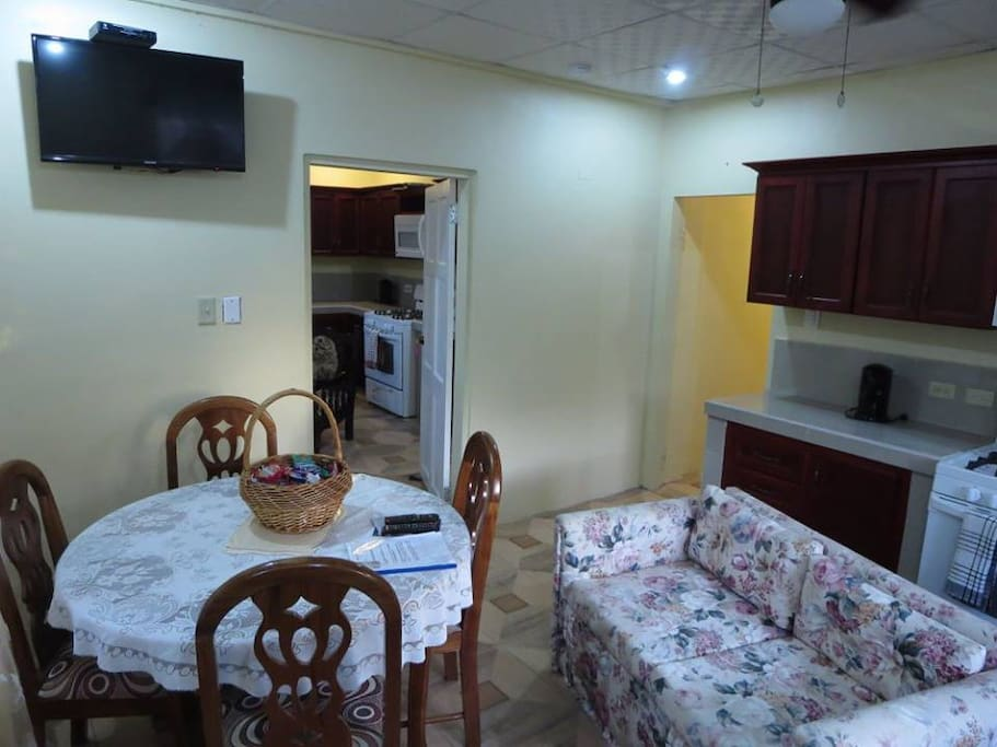 kitchenette and sofa in dining room area in apartment