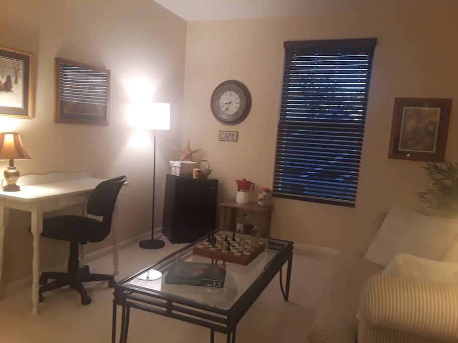 2nd Room - Private OPEN SUITE w/ Desk & Chair, Coffee Table, Mini-fridge/freezer, Coffee Maker & Continental Breakfast