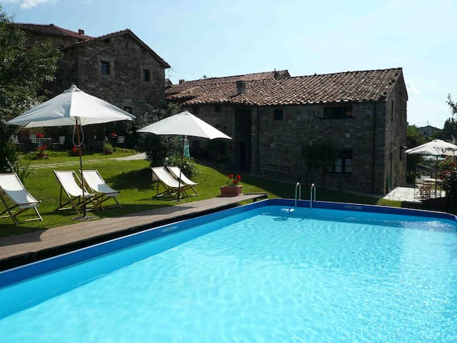 Large house in farm, sleeps 12,pool - Giuncugnano