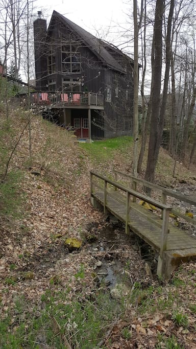 True Mountain Location with Beautiful Views and creek running through the backyard!  The Red Doors are the Ski Room with Ski in/out access (intermediate ability required).