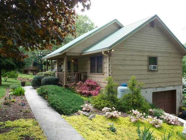 Large Private Basement Studio, Q Bed, Heart of WNC