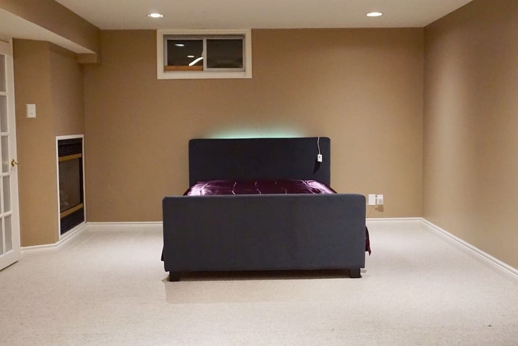 Comfortable Queen Bed with fire place