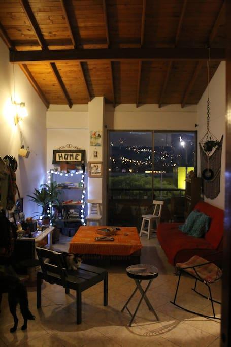 Sala y al fondo balcón - Compartido anfitrión