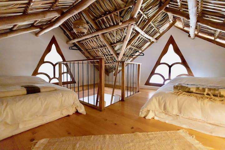 """The Sleeping Loft: Queen and Double beds (""""Bedroom 4"""")"""