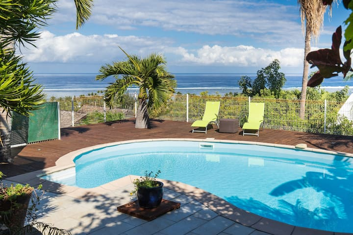 T1  avec piscine privée, vue lagon, clim, wifi
