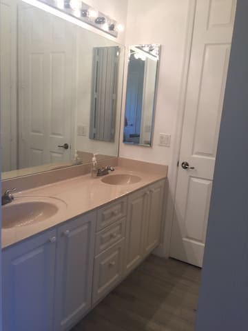 Large vanity next to your private bathroom.
