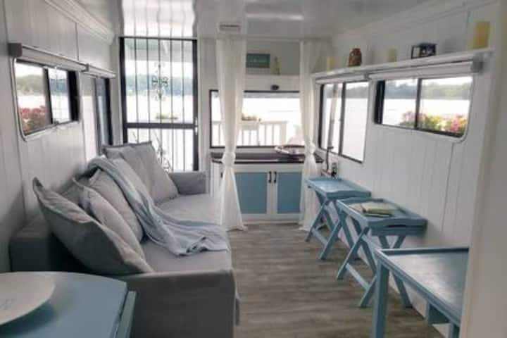 indoor living area of a houseboat