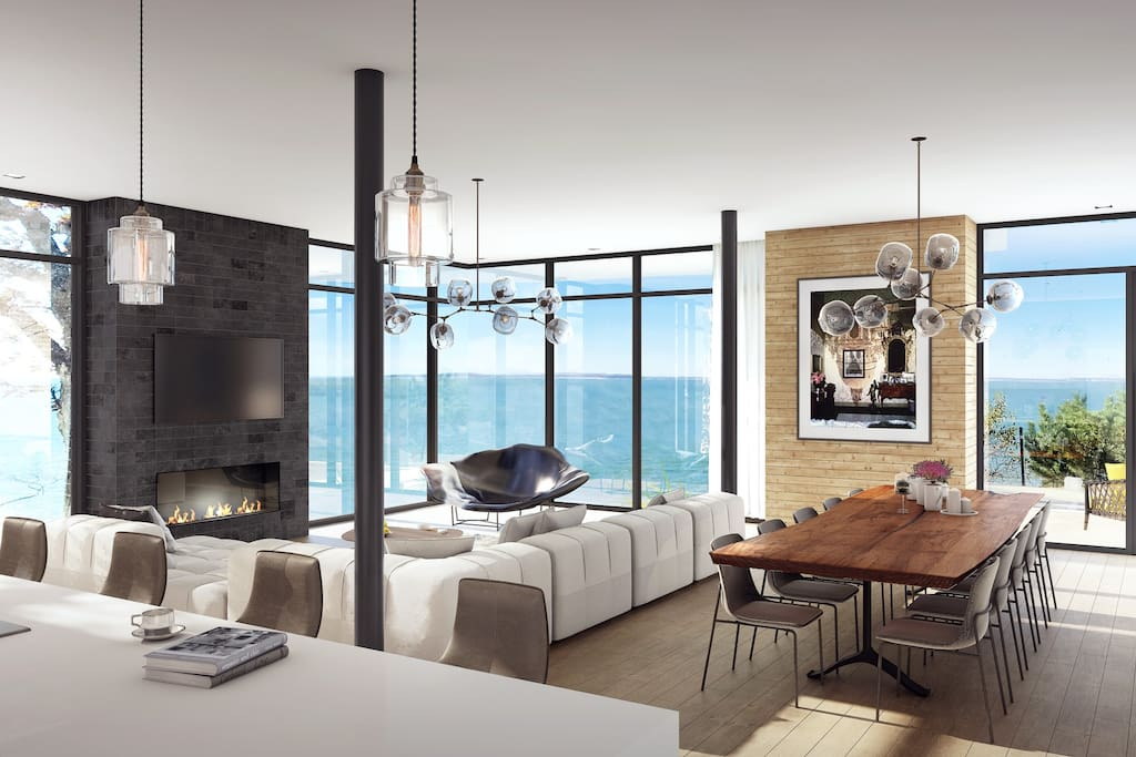 Living Room with Expansive Bay Views