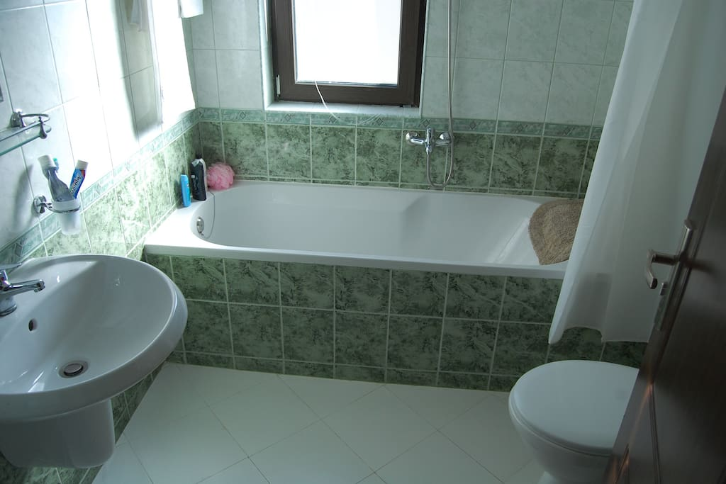 Shared bathroom, shower, wc and hand basin on the same first floor as both bedrooms.