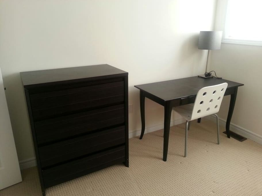 Dresser for clothing storage and desk space for laptop and work