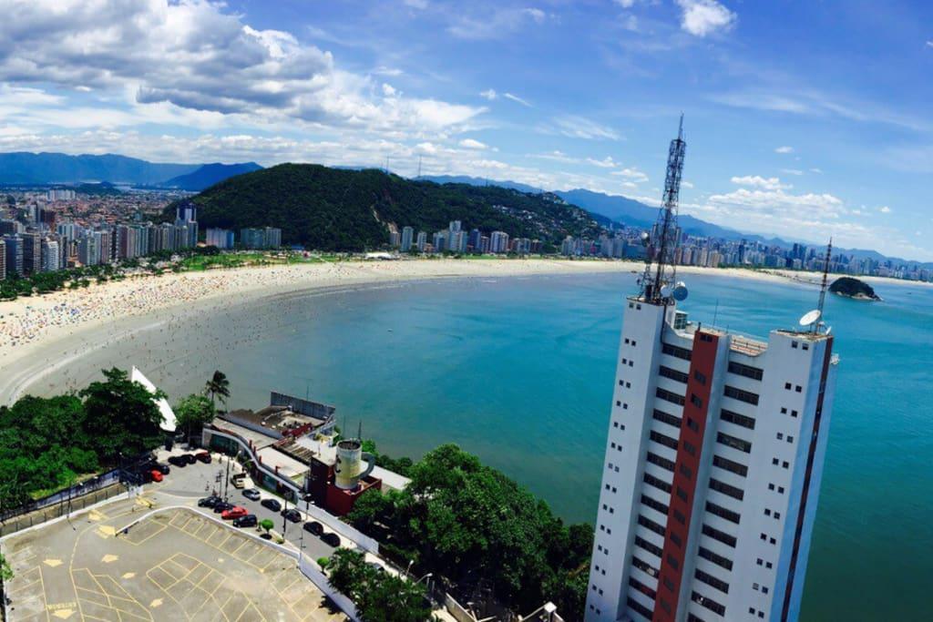 Panoramic view of the coast of Santos and Sao Vicente