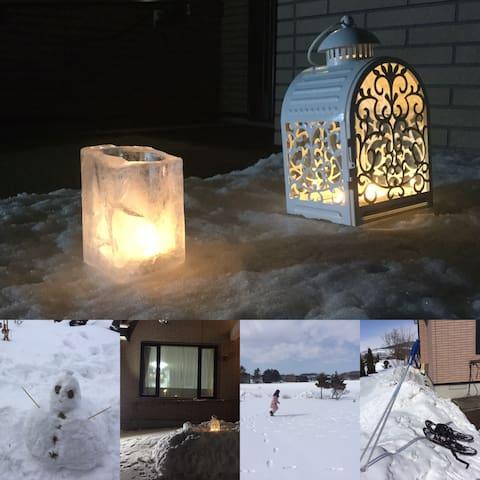 冬は裏庭で雪遊び!氷でアイスキャンドルを作ってみましょう!