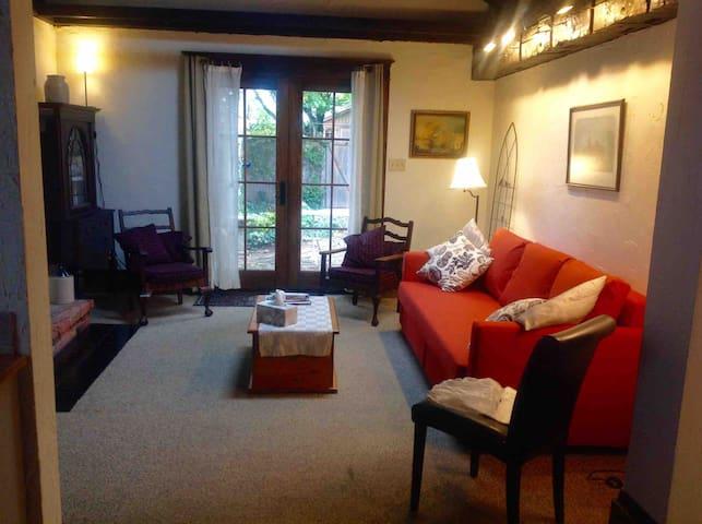 Living room and French door to garden