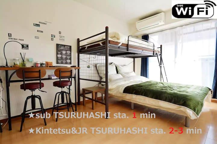★51★3WAY★1min TSURUHASHI Sta/Near Namba/Wifi Free