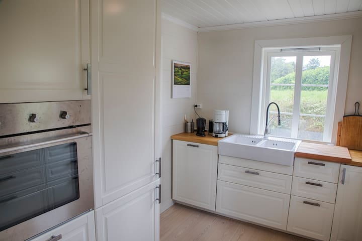 The kitchen - renovated  in 2015 - faces the garden.