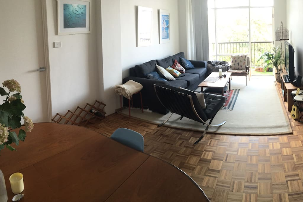 Large mid century dining table in foreground