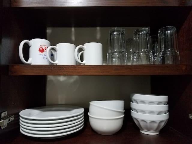 Cups, plates, bowls, pots, pans