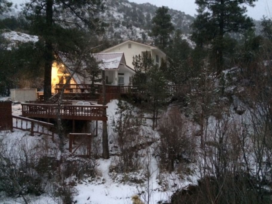 This is showing the Cabin with its outside decks right on the Jemez River.