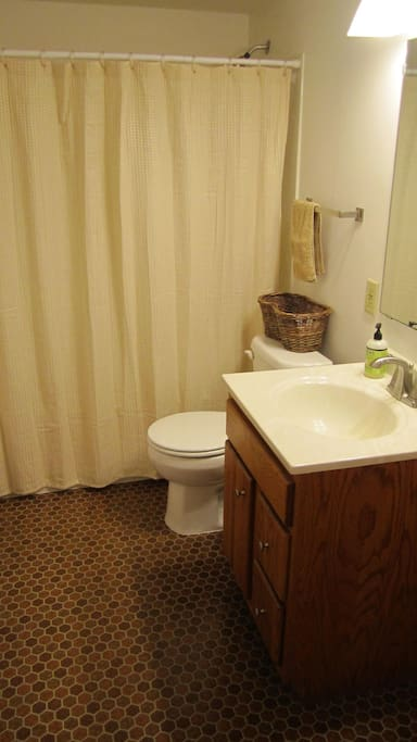 Clean, recently updated bathroom.