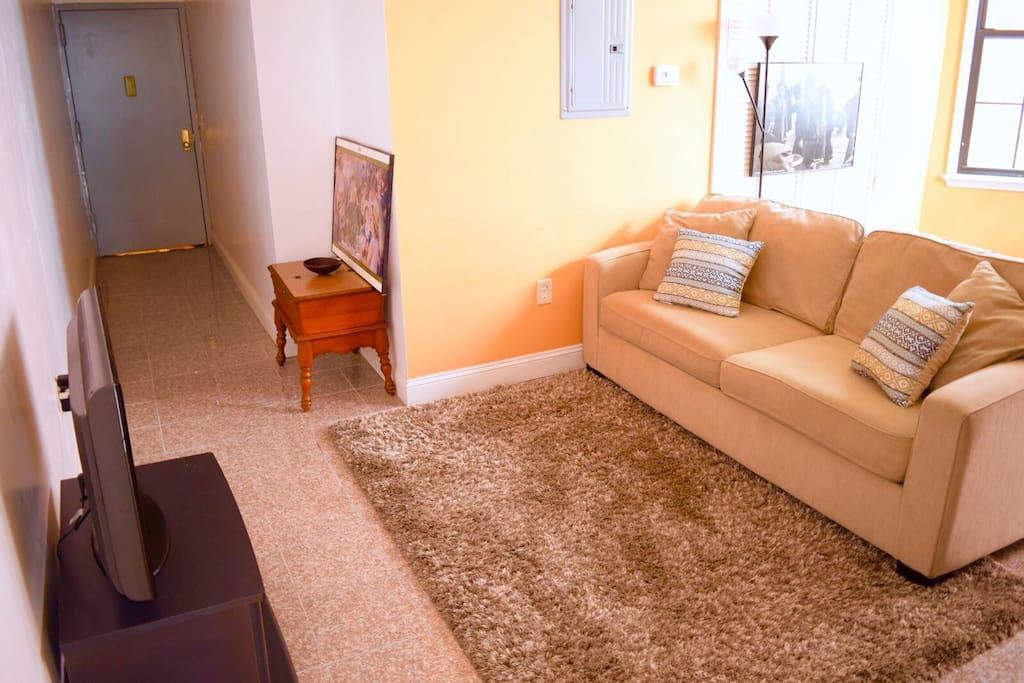 Full sofa bed in living room