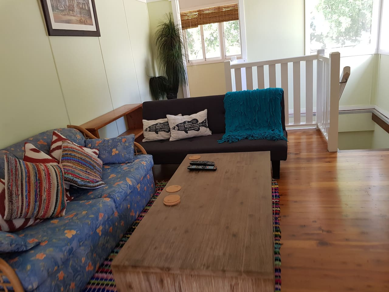 Fully furnished with comfy sofas....both converts into a bed