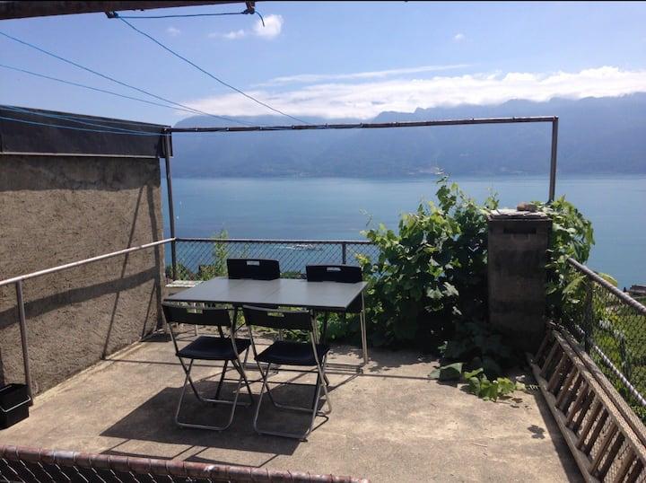 Studio avec terrasse,vue imprenable sur le lac