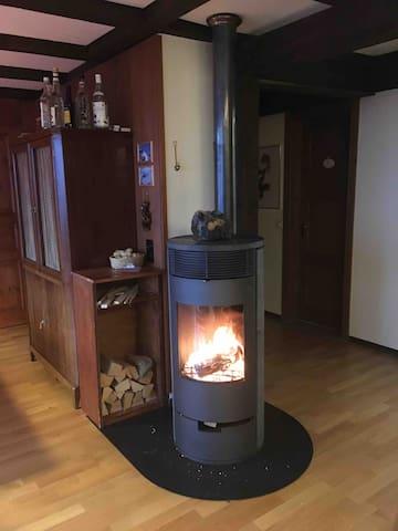 Wenn der Chemineeofen brennt, wird es besonders heimelig und schnell sehr warm!