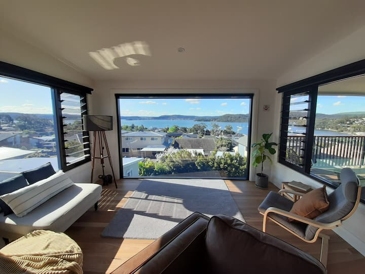 Sunny new multi-story home with stunning views