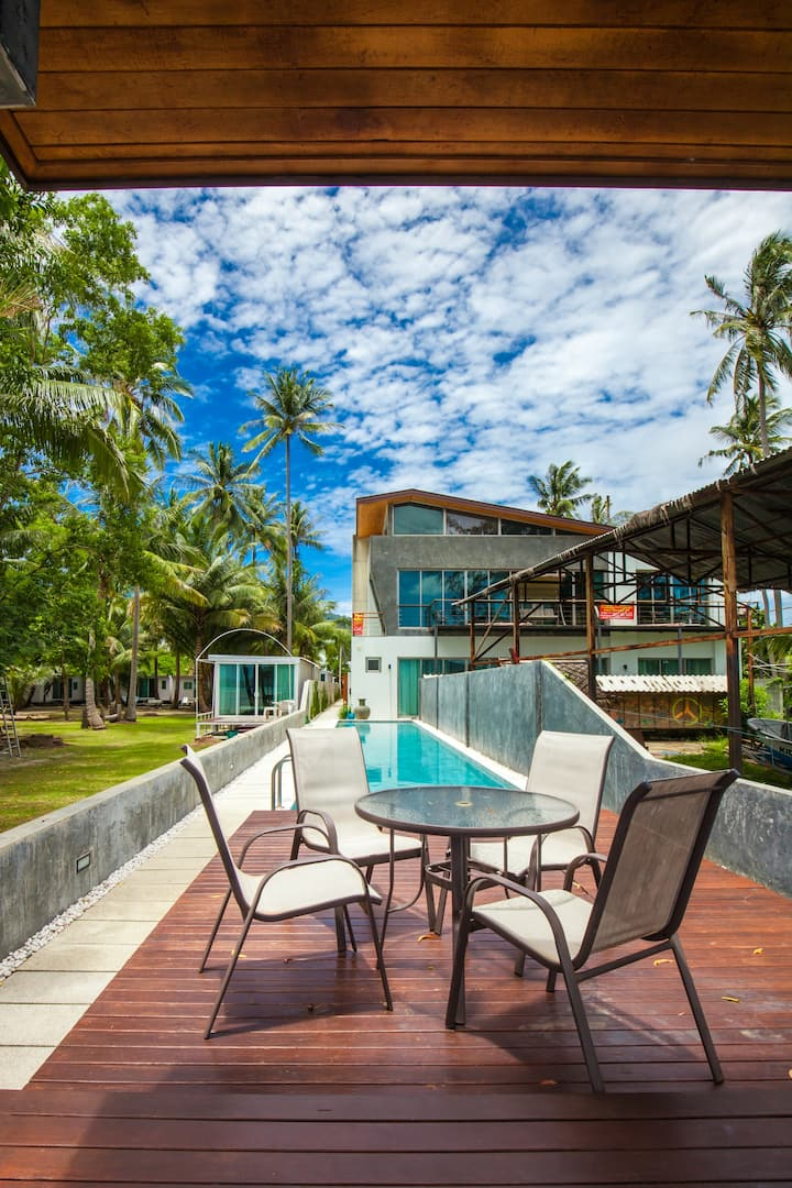 Beachfront Duplex Magnificent  Villa, with Pool