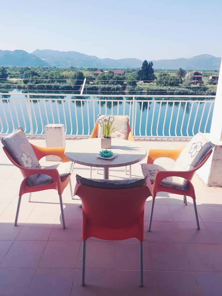 Balcony with a beautiful view of the Neretva River