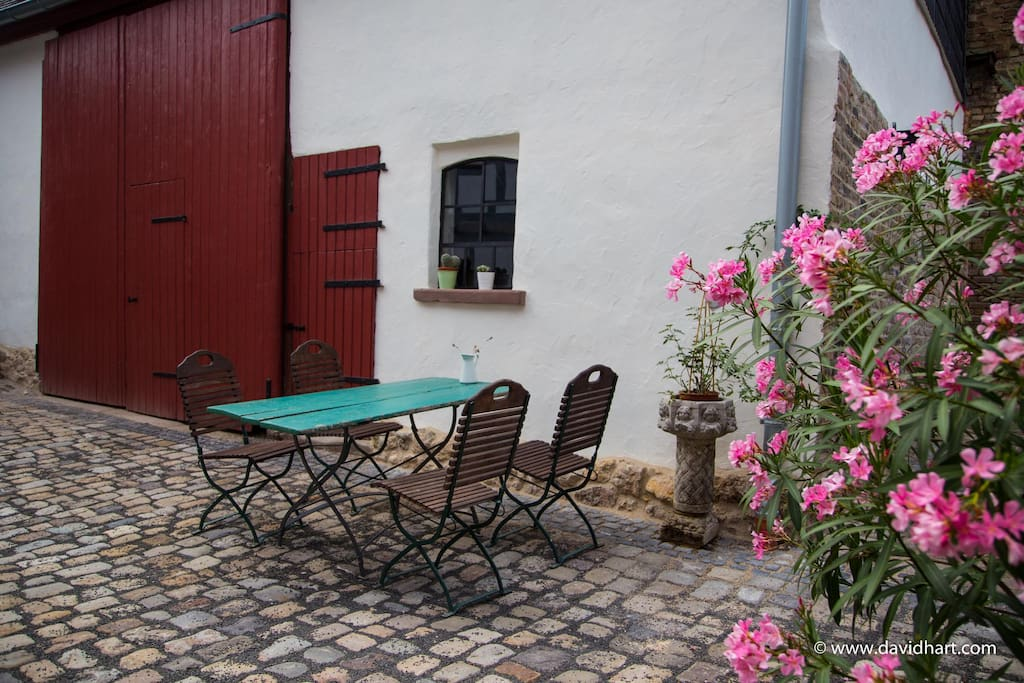Enjoy the historic courtyard with outdoor seating
