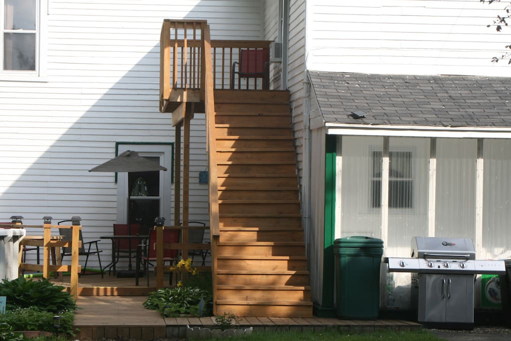 These are the stairs to your private entry and private deck