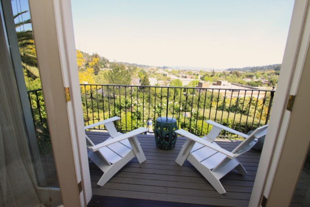 Back deck with view of San Rafael & the Bay