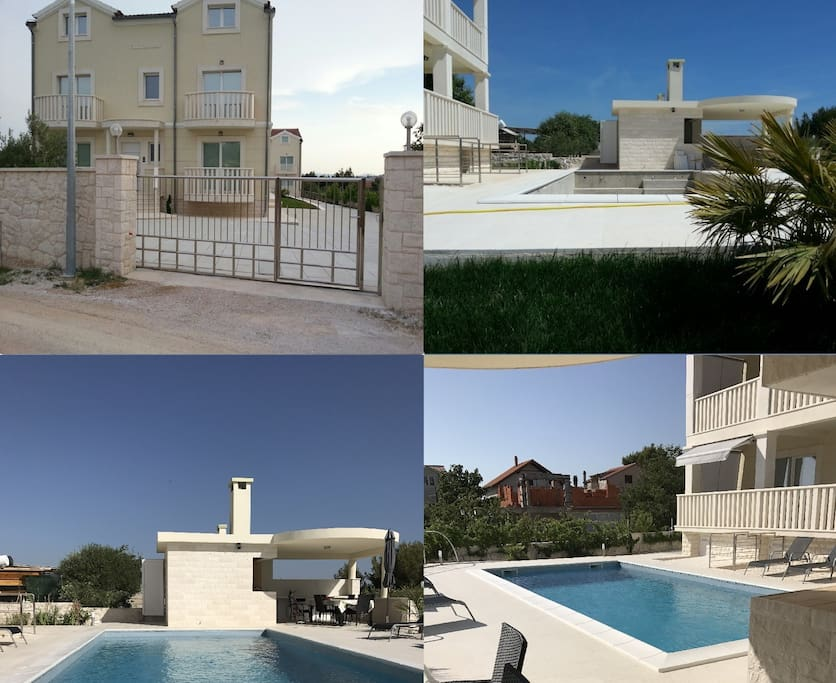 Collage, outdoor kitchen, swimming pool, gate to the property