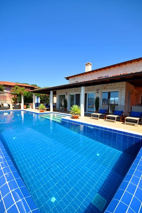 Pool and protected lounge area