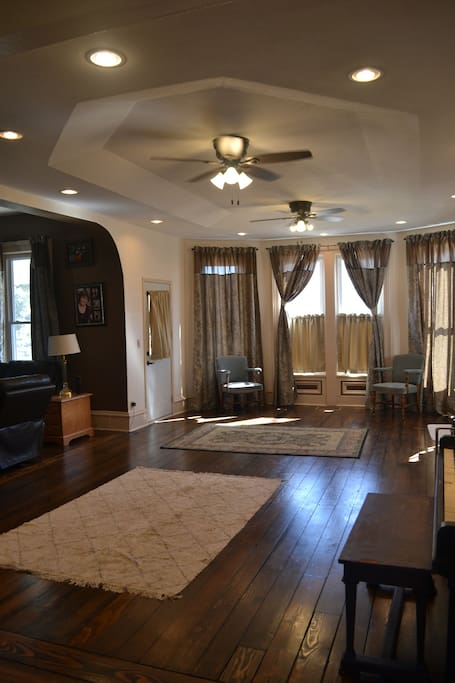New ceiling and lighting make our large living room inviting relaxing.