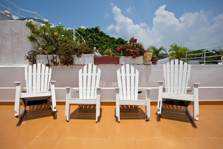 Private terrace in front Café del Mar