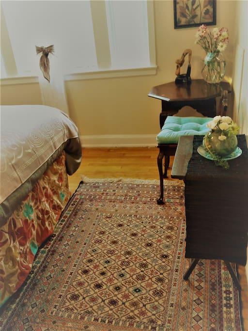 Central Aisan influences: Afghan rugs & Uzbek bedspreads